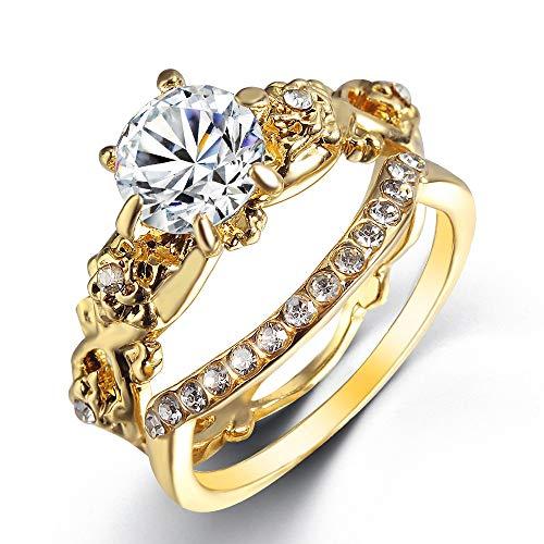 IWINO paar ringen populaire prachtige decoratie nieuwe eenvoudige sieraden vriendin verrassing Gift Gold Rose Flower Ring verlovingsring