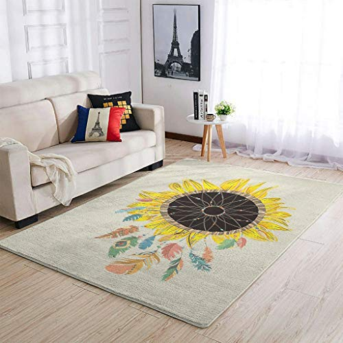 Knowikonwn Washable Sunflower Area Rugs Super Cute Comfortable Living Room Carpets - for Kids Nursery Girls Home white10 91x152cm
