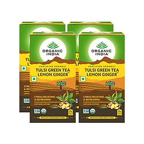 Organic India Tulsi Green Tea Lemon Ginger 25 Tea Bags- (Pack of 4)