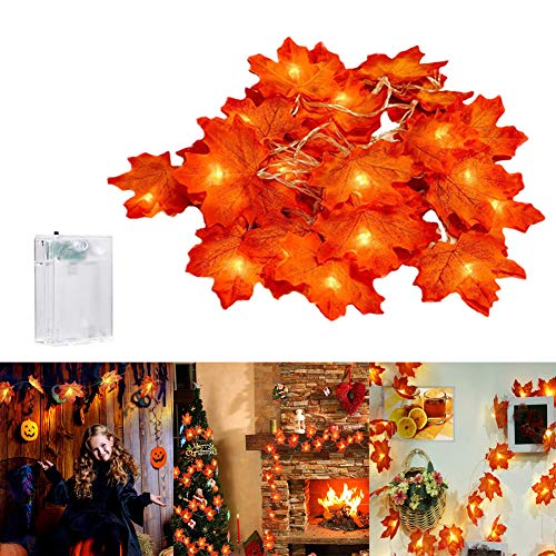 Ahornblätter Lichterketten 6M 40LED Ahornblatt Girlande Herbst Blättergirlande Dekoration Lichter Batteriebetrieben Herbst Deko Indoor Outdoor für Thanksgiving,Weihnachten,Halloween,Festival Party
