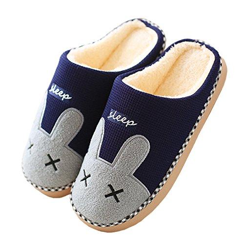 Rojeam Schöne Nette Kaninchen Slipper Bequeme Filz Hausschuhe mit Fußbett Plüsch Hausschuhe Baumwolle Warme Kunstpelz Slipper Indoor rutschfeste Schuhe Damen Herren