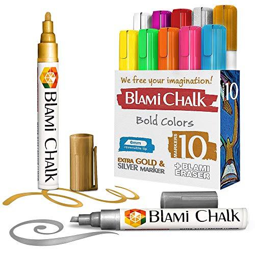 Blami Arts Chalk Markers for Blackboard - Vibrant Color Liquid Chalk Markers for Chalkboard Signs, Windows, Glass, Blackboards - 6mm Reversible Tip Chalk Pens, Erasing Sponge Included (10 Pack)