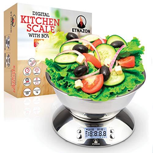Bilancia Cucina Acciaio Inox, Bilancia da Cucina Digitale Con Ciotola Rimovibile, 5kg/ 11lb, Funzione Tare, Timer Allarme, Indicatore Temperatura, Display LCD, Argento (Bilancia)
