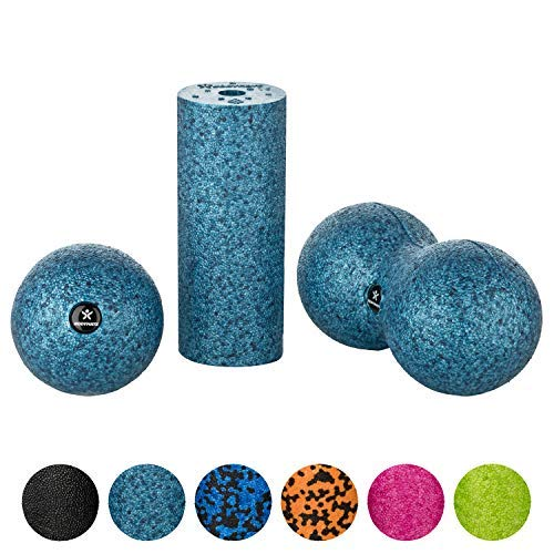 BODYMATE Set con Rodillo miofascial Mini 15 cm Largo x 6 cm diámetro, Bola 8 cm diámetro y Bola Doble 8 cm diámetro