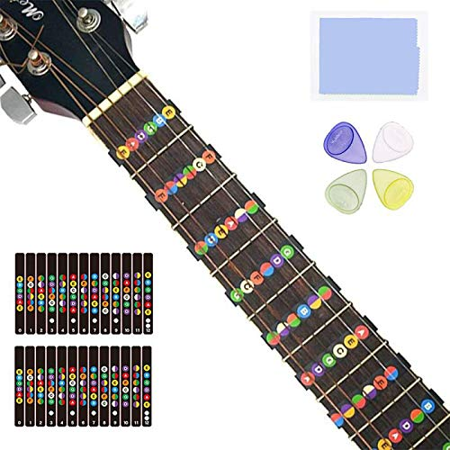2 Sheets Guitar Fretboard Stickers, Learn Guitar Tabs,Pefect For Beginners Guitar Note Decals Sticker Tool + 8 Guitar Picks (Electric & Acoustic Guitars)
