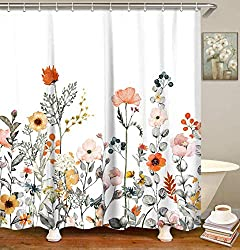 small LIVILAN shower curtain set (floral pattern and 12 hooks) Watercolor pattern decorative bath curtain modern …