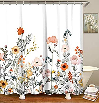 LIVILAN Fabric Floral Shower Curtain Set with 12 Hooks Watercolor Decorative Bath Curtain Modern Bathroom Accessories Machine Washable Multi-Color Botanical Flowers and Leaves 72  X 72