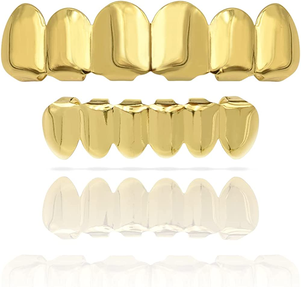18K Gold Plated Grillz for Women Men, Top and Bottem Hip Hop Grills for Your Teeth, Rapper Costume Teeth Jewelry and Accessories