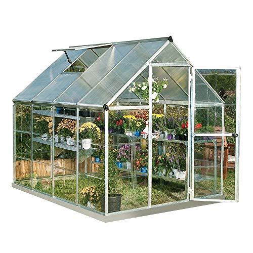 Palram Hybrid Serre de Jardin – Murs an Polycarbonate Transparent – Toit en Polycarbonate Translucide, Cadre Aluminium, Base inclue – Argent