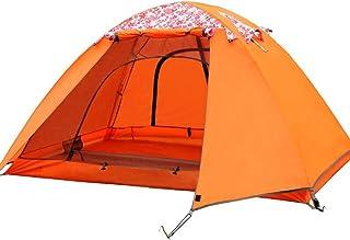 IDWOI-tält 3-4 mortält dubbelskikt regnfast solkräm tryck familjetält utomhus lätt campingtält (färg: Orange-glasfiberstång)