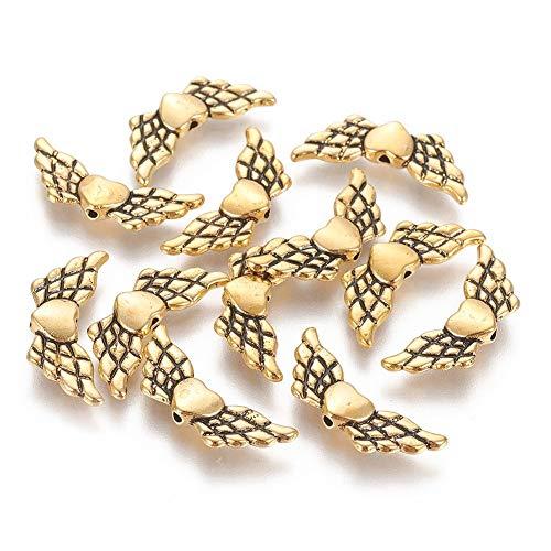 20 alas de ángel con perlas de metal de 22 mm para pulseras y collares