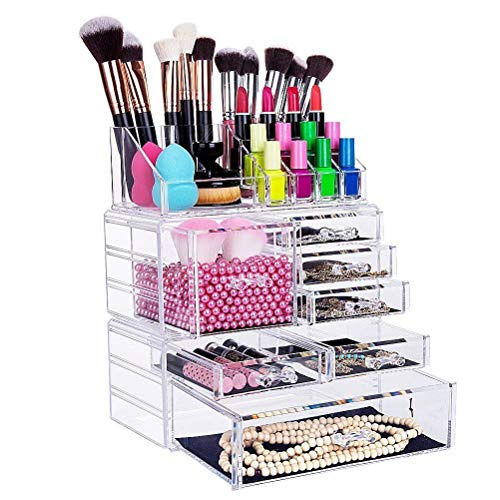 Fobuy - Organizer per trucchi in acrilico trasparente, Supporto da tavolo per riporre cosmetici e gioielli (7 Drawers)