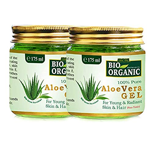 Indus valley 100% Natural, Pure Aloe Vera Gel for Skin and Hair (Set of 2, 175ml/Pc.)