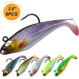 TRUSCEND Fishing Lures for Bass Trout Fishing Jig Lures Paddle Tail Swimbaits 2.76in Soft baits Japan Formula Freshwater Saltwater bass Fishing Lure kit Lifelike Bionic Swimming Lures