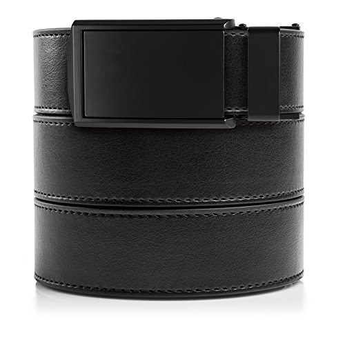 SlideBelts Men's Classic Belt - Custom Fit (Black Leather with Matte Black Buckle (Vegan), One Size)