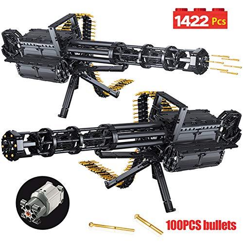 YYEWA 1422Pcs Technic City Gatling Guns Emissionsmodell Bausteine Militärarmee WW2 Waffenziegel Spielzeug für Jungen Geschenke