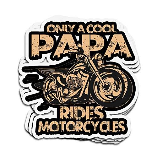 DKISEE 3 Stück Aufkleber Only Cool Papa Rides Motorräder gestanzte Wandaufkleber für Laptop Fenster 10,2 cm
