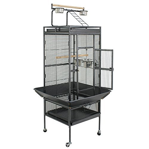 SUPER DEAL PRO 61''/ 68'' 2in1 Large Bird Cage with Rolling Stand Parrot Chinchilla Finch Cage Macaw Conure Cockatiel Cockatoo Pet House Wrought Iron Birdcage, Black (61'')