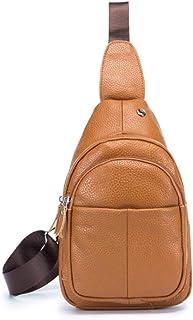 Women's Chest Bag Leather Shoulder Bag Messenger Bag Front Bag 8 inch (Color : Orange, Size : M)