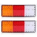 2 luces traseras de 75 LED para camión, remolque, barco, luz de freno trasera, luz indicadora de marcha atrás, resistente al agua 12 V