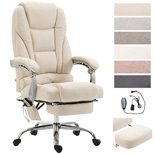 CLP Chefsessel Pacific Stoff mit Massagefunktion l Höhenverstellbarer Bürostuhl mit ausziehbarer Fußablage l Max. belastbar bis 150 kg Creme