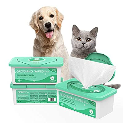 PUPMATE Pet Wipes for Dogs & Cats, Extra Moist & Thick Grooming Puppy Wipes with 100 Deodorizing and Fresh Counts, Aloe Vera