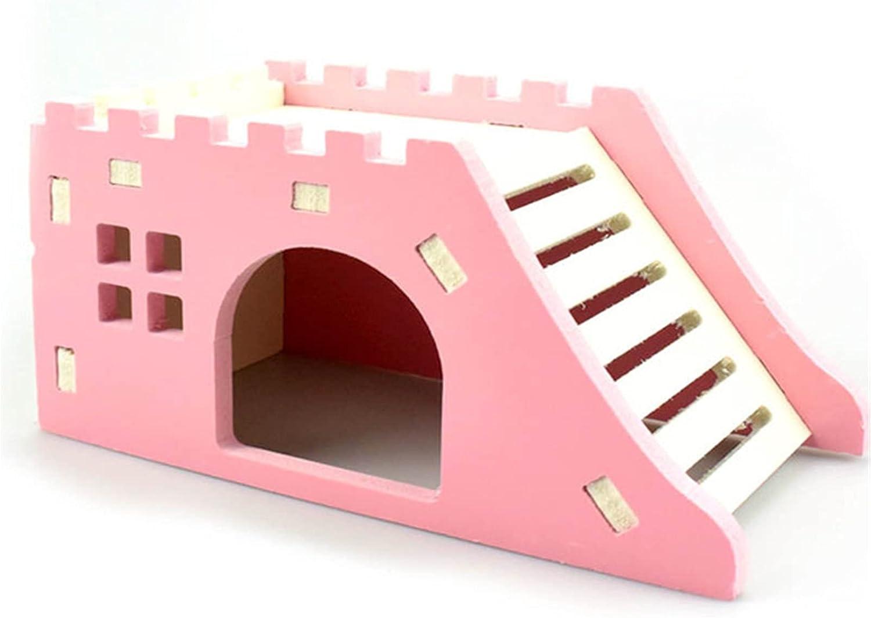 Goodvk Nido de Hámster Escalera Deck Ornamental Casa de Mascotas Productos para Mascotas de Madera Pet Hedgehog Castle Toy Hamster House Residencia Confortable (Color : Pink, Size : 14.5x7x7cm)
