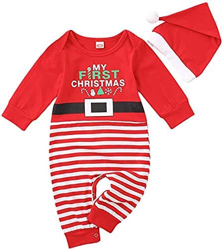 Carolilly 2 Pz Tuta Natalizia da Bambino Neonato in Maglione Carino Lavorato a Maglia con Pagliaccetto da Babbo Natale a Maniche Lunghe (Rosso, 18-24 Mesi)