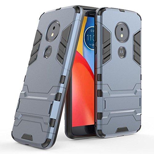 Funda para Motorola Moto E5 (5,7 Pulgadas) 2 en 1 Híbrida Rugged Armor Case Choque Absorción Protección Dual Layer Bumper Carcasa con Pata de Cabra (Azul Negro)