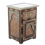 Casa Moro | Ayleen - Cómoda marroquí de madera maciza (68 x 47 x 40 cm, hecha a mano con pintura de latón) | MO4095