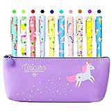 Estuche de unicornio con 10 bolígrafos coloridos de unicornio y...