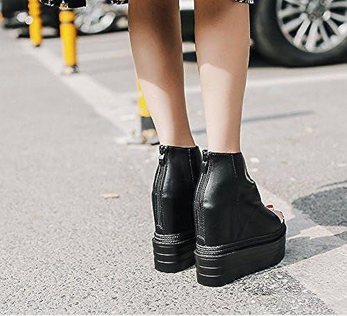GTVERNH-Au Printemps De noir noir 8.5Cm Chaussures Orteil dans La Bouche De Poisson Une Pente avec des Bottes Imperméables Cool Sandales à Talons Haut Muffin  marque célèbre