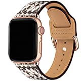 POWER PRIMACY Bands Compatible with Apple Watch Band 38mm 40mm 42mm 44mm,Soft Pattern Leather Smart Watch Band Compatible for Men Women iWatch Series 6/5/4/3,SE(Snake Print/Rosegold,38mm 40mm)