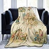 Searster$ Throw Blanket Vintage Aquarell Cupid Angel liebt Fleece Decke Flanell Plüsch Decke Fuzzy weiche Decke Mikrofaser für Couch Schlafsofa, 102 X 127 cm