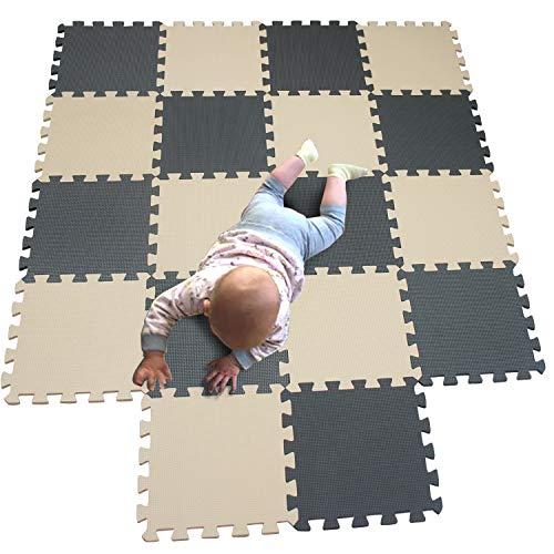 MQIAOHAM 18 pieces krabbeldecke wasserdicht teppich kinder matte für baby puzzle boden matten play gym puzzlematten spielmatten schaum puzzlematte kleinkind schaumstoff Beige Grau 110112