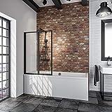 Schulte D1332 68 50 Pare baignoire rabattable à coller, paroi réversible sans percer, 2 volets pivotants, verre transparent, profilé noir, 87 x 120 cm