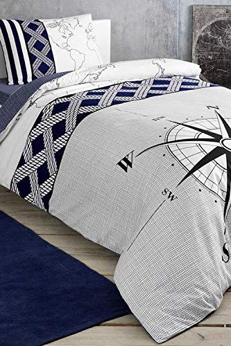 Juego de cama individual – Navi azul marino brújula, moderno juego de ropa de cama de 3 piezas