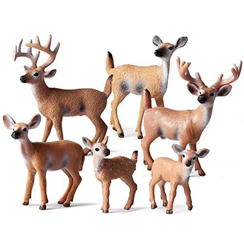 Hileyu 6 Morceaux d'animaux de la forêt, Figurine en Bois Miniature Figurine fête d'anniversaire du cerf des Bois, gâteau de fête de Noël éducatifs Animaux de la forêt Chiffres Jouets Set