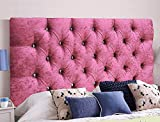 Cabeceros de cama de Serenity de terciopelo arrugado ornamental con cristal de diamante, piezas con un marco resistente, terciopelo, rosa pastel, Super King 6 FEET