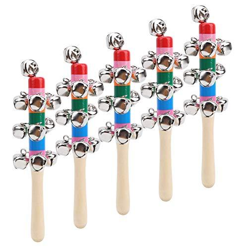 Juego de juguetes musicales para bebés, juguetes para agarrar, sonajero con mancuernas para bebés, 10 campanas verticales (color) para niñas o niños pequeños
