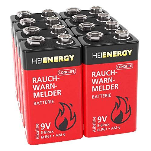 HEITECH Rauchmelder Batterie 9V Block - 8× Alkaline 9V Block Batterien langlebig & auslaufsicher - Blockbatterien für Feuermelder, Bewegungsmelder, Kohlenmonoxid, Warnmelder & Rauchwarnmelder