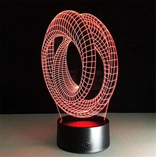 Veilleuses Illusions Optiques 2-ring lampe de bureau 3d 7 couleurs Changement tactile interrupteur à distance Tableau de commande LED Night Light Lighting Décoration Accessoires pour la maison