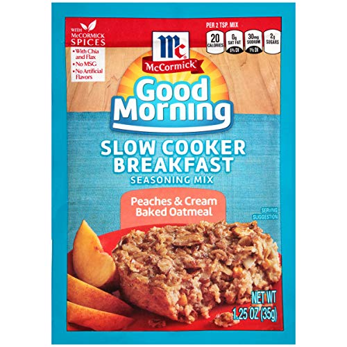 McCormick Good Morning Peaches & Cream Baked Oatmeal Slow Cooker Breakfast Seasoning Mix, 1.25 oz