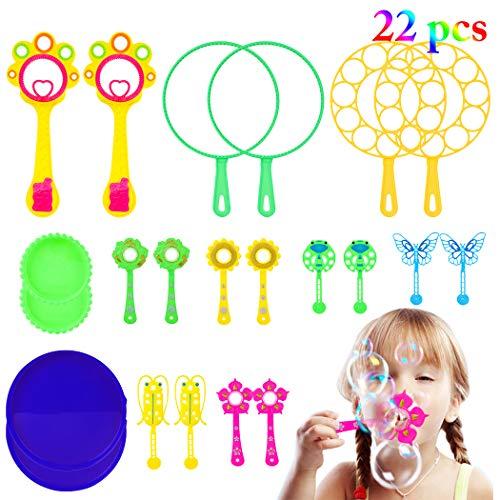 22 Pcs Maquina de Burbujas,Burbujas de Jabón Kit Burbuja Varitas para Niños para Juego de Fiesta Al Aire Libre Boda Baño Juguetes