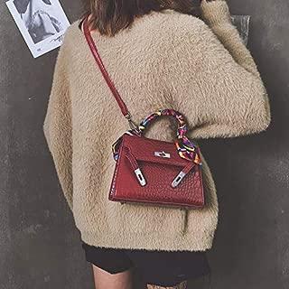 Fashion Single-Shoulder Bags Leisure Fashion PU Leather Slant Shoulder Bag Handbag (Black) (Color : Red)
