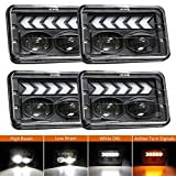 Rectangular 4x6 Headlights Sealed Beam LED Headlights with White DRL Arrow Sequential Amber Turn signals Lights for Kenworth Peterbilt Freightinger Trucks 4PCS