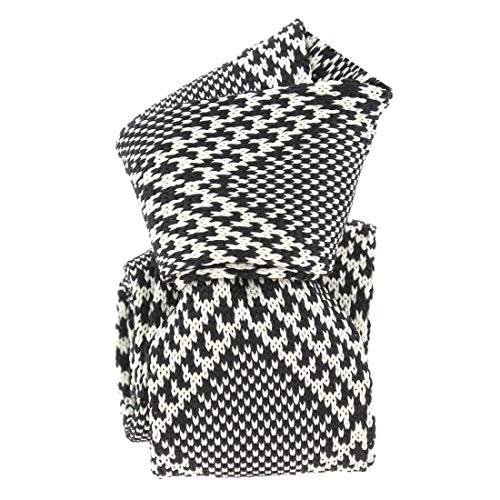Clj Charles Le Jeune. Cravate tricot. Club charles, Microfibre. Noir, carreaux.