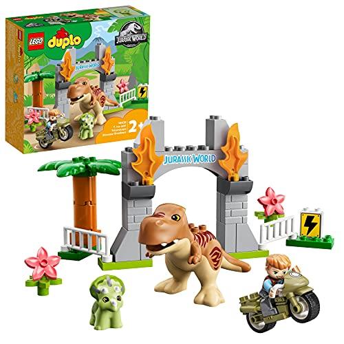 LEGO 10939 Duplo Jurassic World Fuga del T. Rex y el Triceratops, Juguetes de Dinosarios para Niños +2 Años