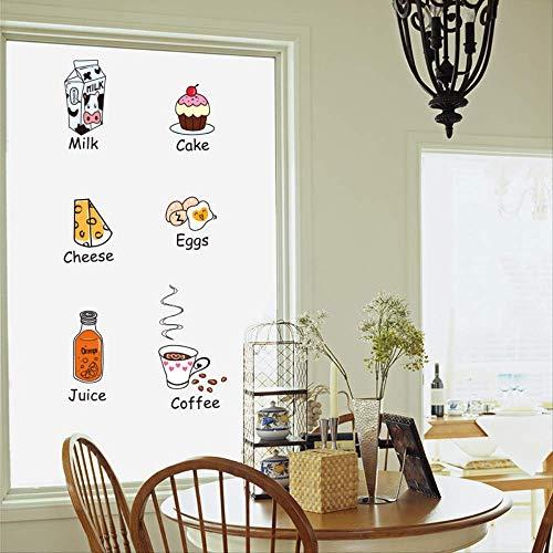 Leuke Cartoon Koelkast Sticker Tegel Glas Sticker Keuken Deur Kinderkamer muur Decoratieve Muursticker Voedsel Brood 73 * 73cm