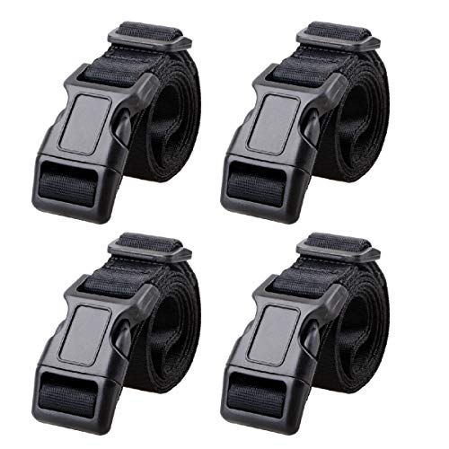 Azarxis 25mm Schwarz Nylon Gurtband mit Verstellbare Schnallen, 4 Stück Gurtband (Schwarz - 1m)